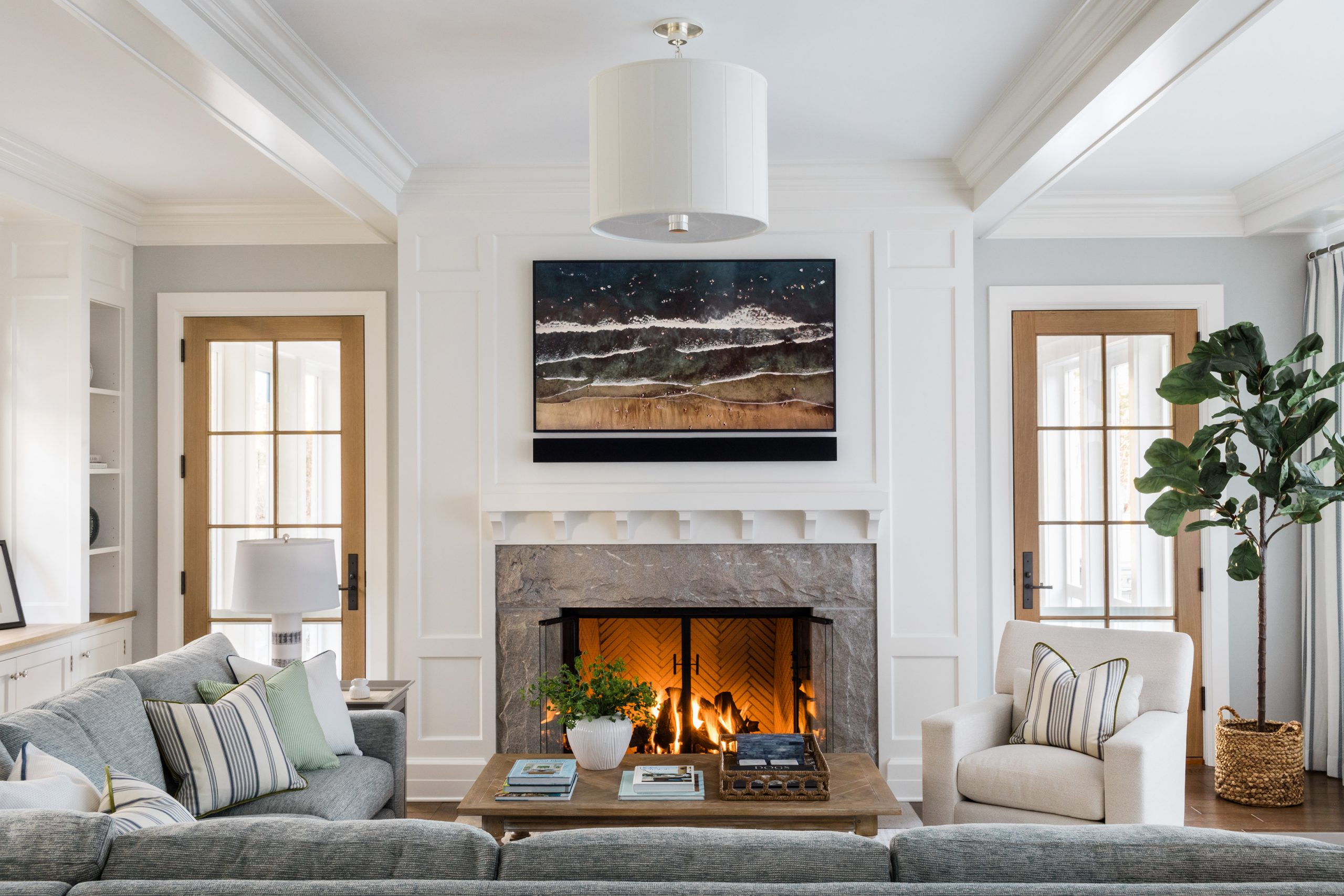 Family room with working fireplace