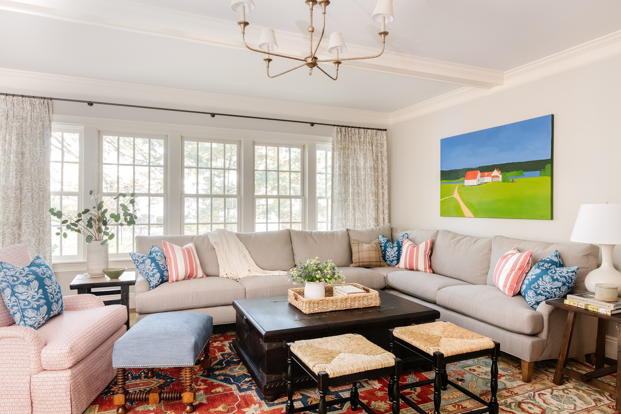 Family room design with cozy sectional