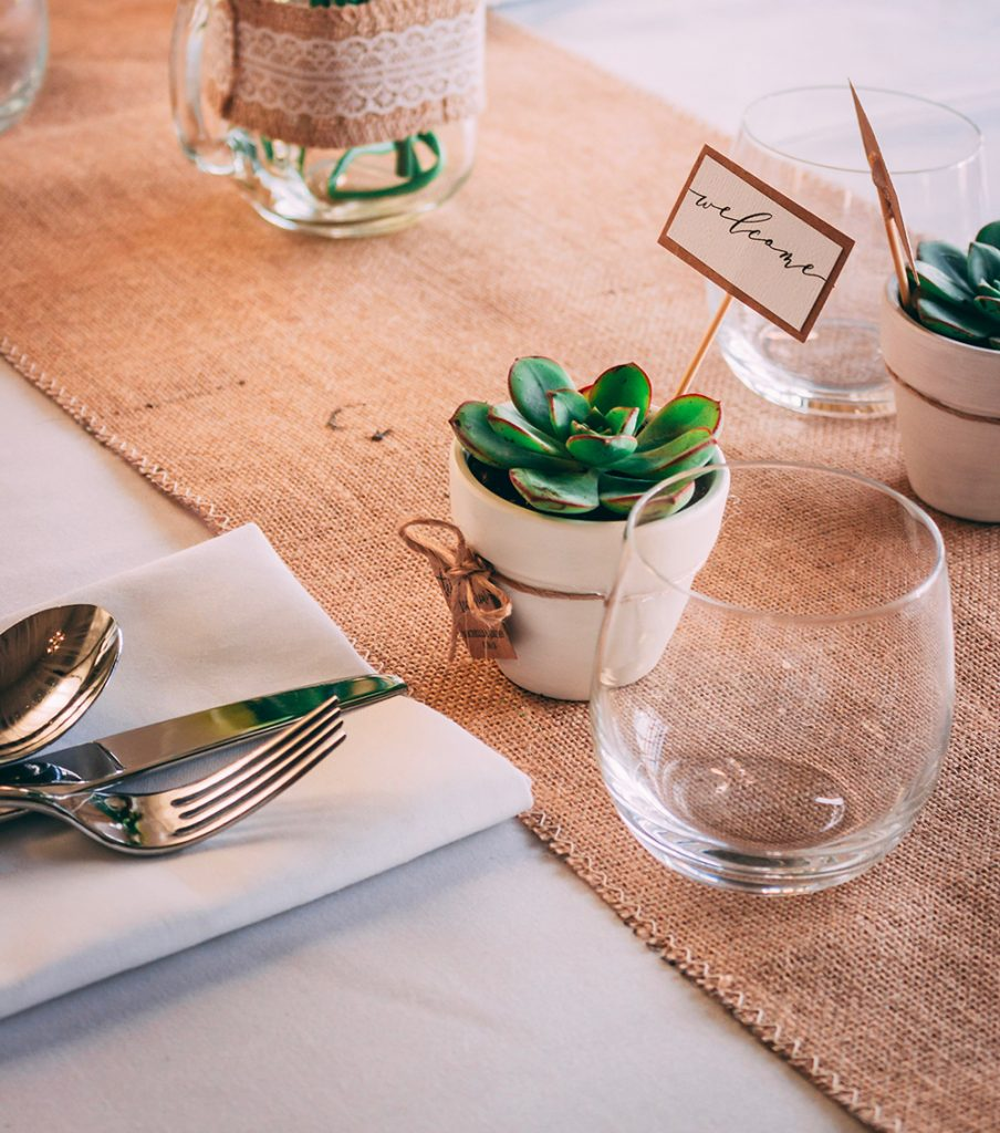 Casual place setting on neatly folded napkin