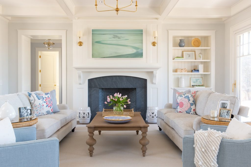 Coastal interior design living room