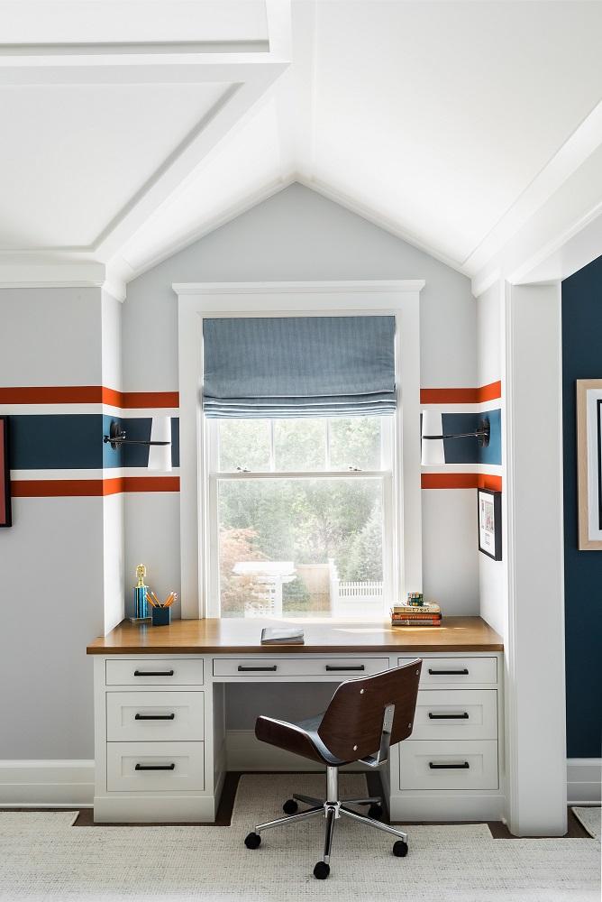 Built-in desk in home office design
