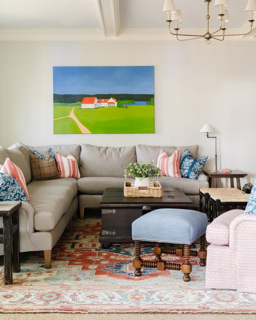 Cozy family room with pops of color