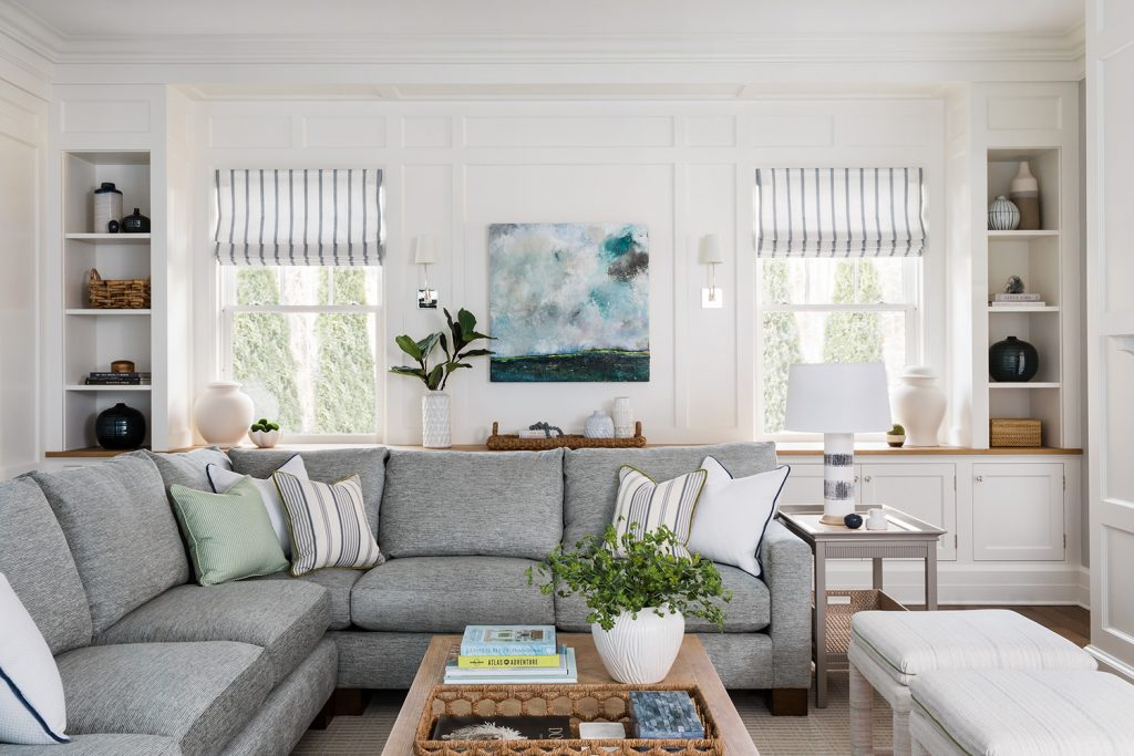 Sectional with throw pillows