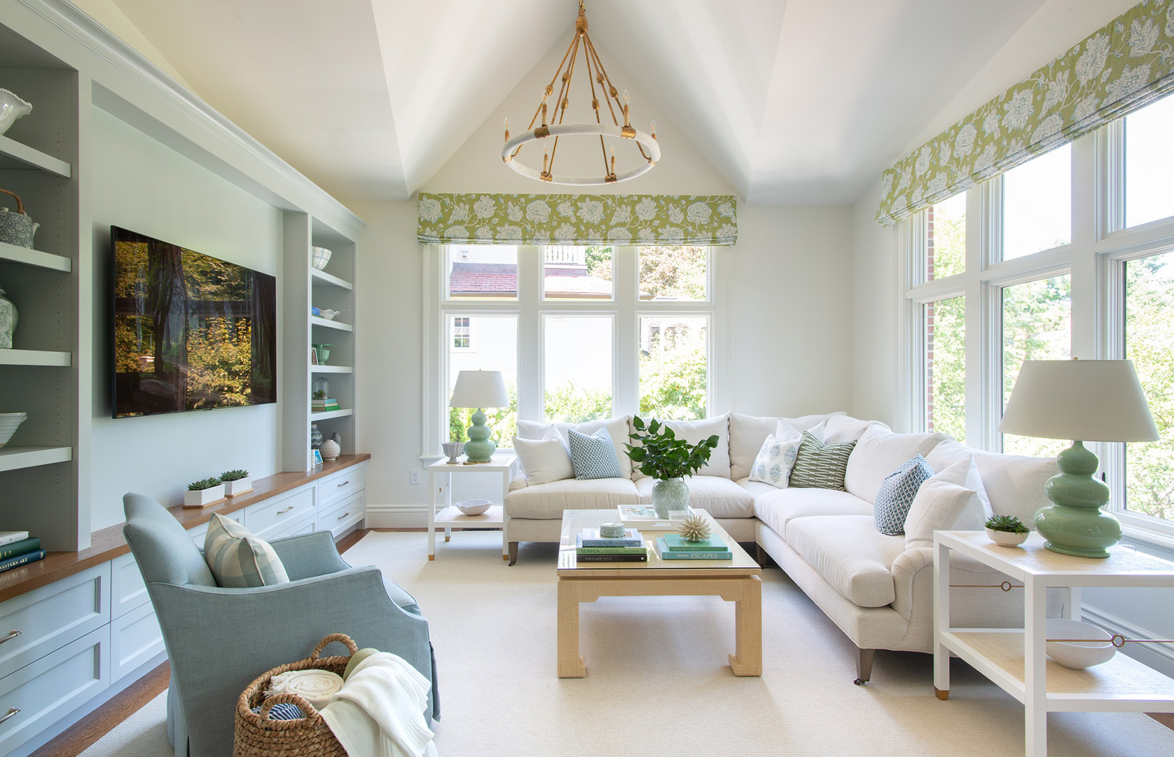 Transitional interior design family room