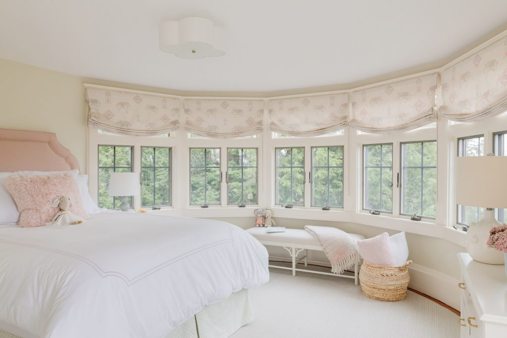 Guest bedroom with blush and neutral accents