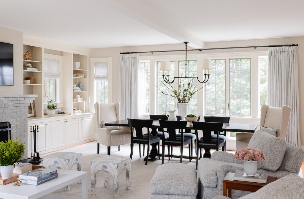 Great room, dining room view