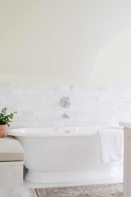 White master bathroom soaking tub