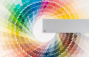 A color wheel of paint samples