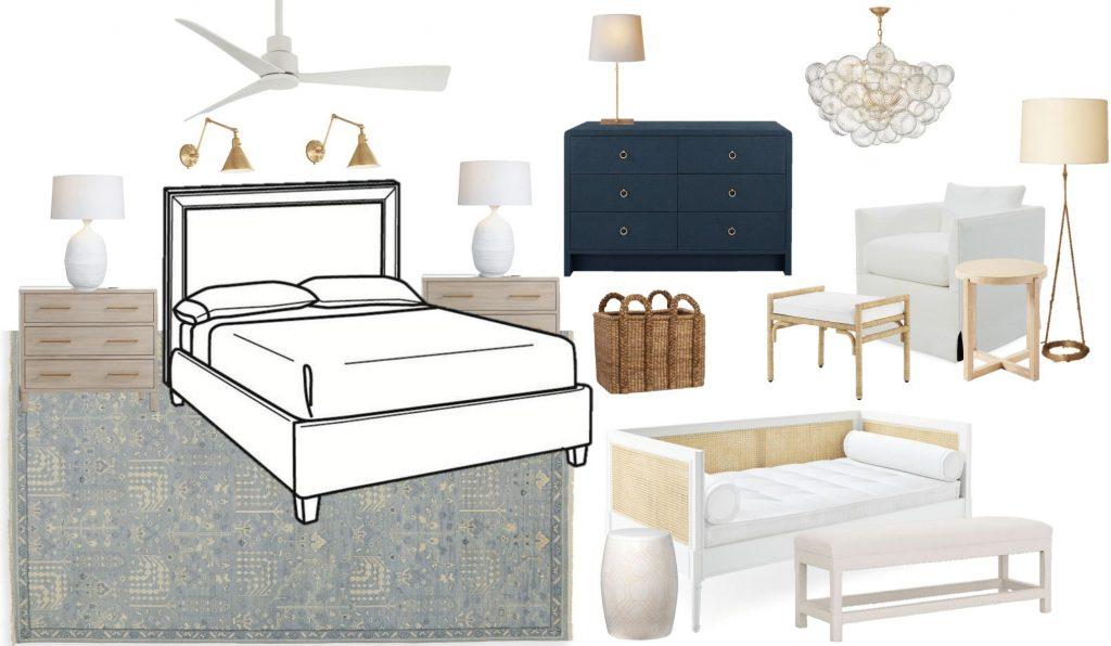 Coastal bedroom design board