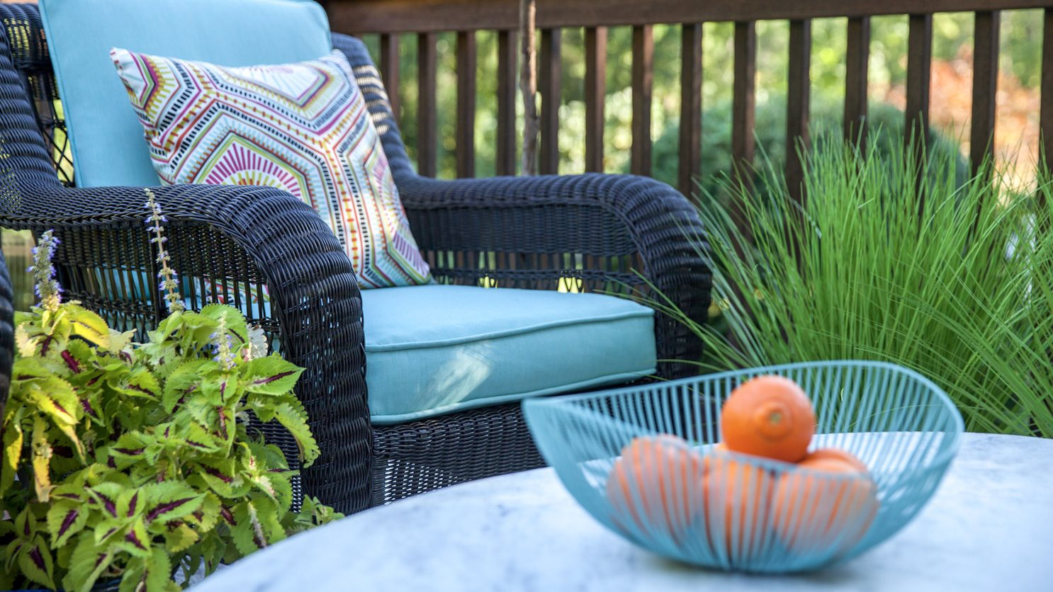 Outdoor furniture on porch