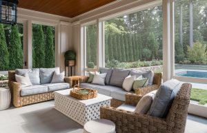 Outdoor living spaces screened porch with outdoor furniture