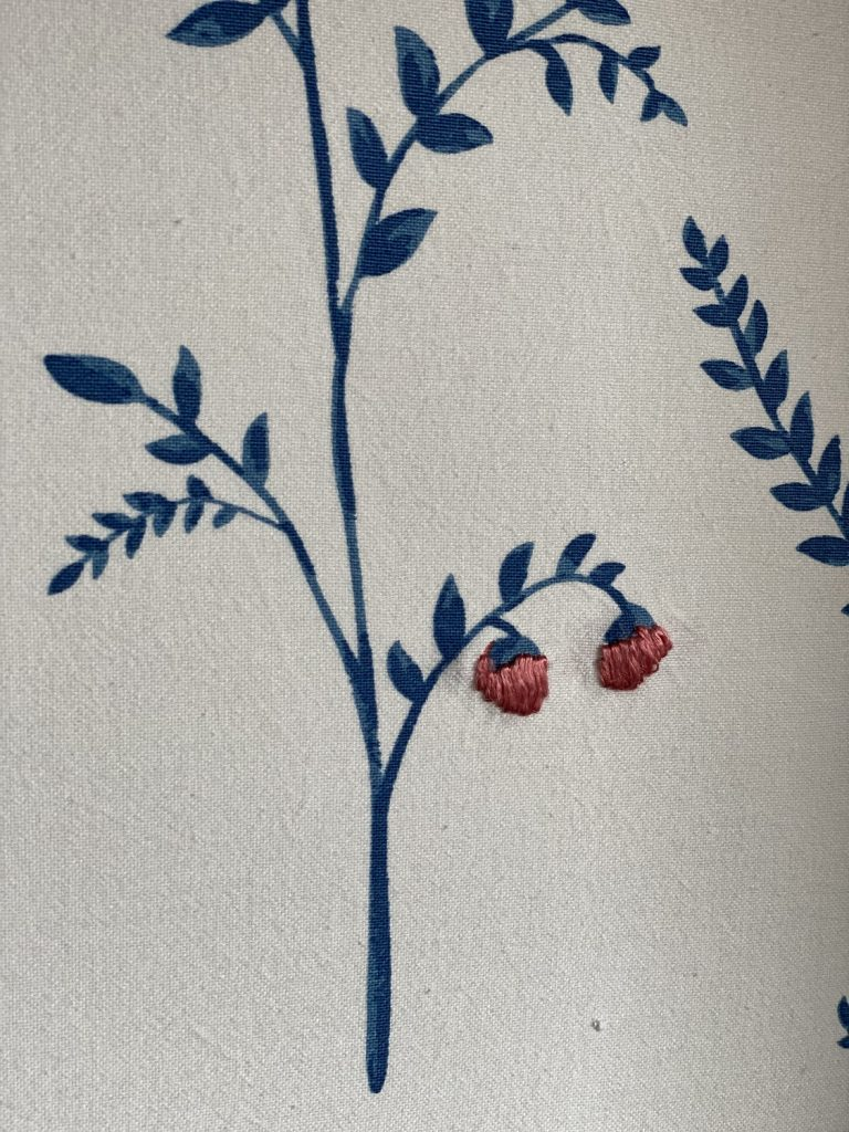 Detail of texture on embroidered wall covering